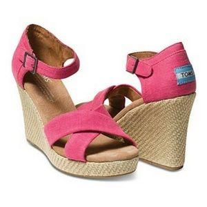 TOMS Pink Hemp Wedge Sandals Size 8